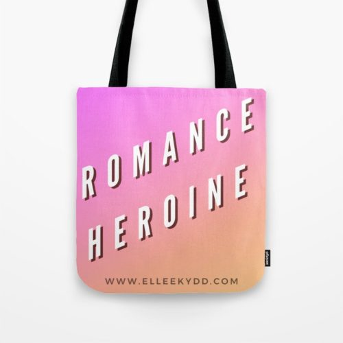 tote back that reads 'romance heroine' and www.elleekydd.com